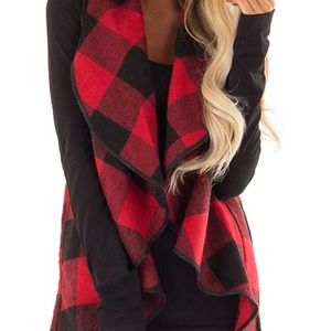 Red/black plaid sleeveless vest